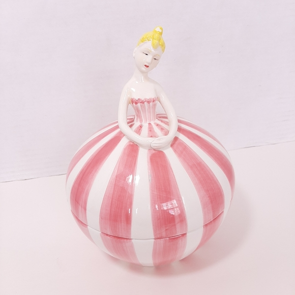 Porcelain Ballerina Covered Candy Dish Pink White